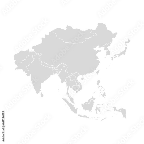 Leinwand Poster Asia vector map southeast country, Asian east continent icon silhouette china ma