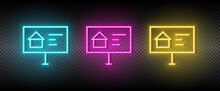 Real Estate Vector Ads, Building. Illustration Neon Blue, Yellow, Red Icon Set.
