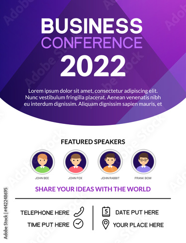 Tableau sur Toile Business conference simple template invitation
