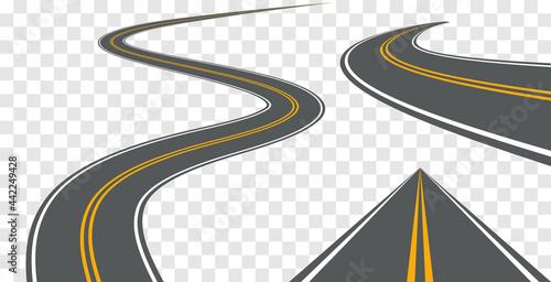 Obraz na plátně Vector road way winding journey highway illustration