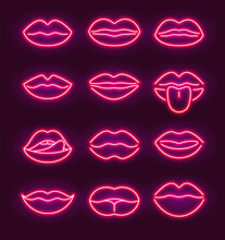 Neon Lips Kiss Sign Outline. Purple Red Sex Day Vector Neon Beauty Background Glow Mouth