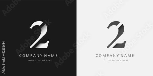 Fotomural 2 logo modern broken design serif number