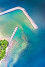 Chumphon Marina Thailand Drone Aerial Ariel UAV Natural Landscape Seascape No People Copy Space Long Exposure Water Land Coral Reefs Entrance Enter Protection Environment