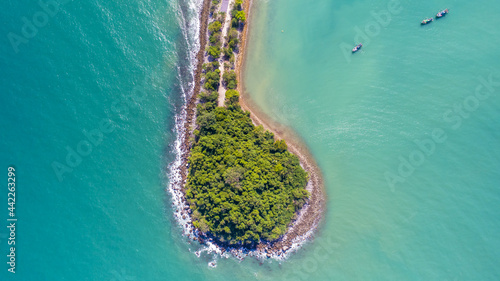 Fotografiet Round Circular Curved Land Formation in the South of Thailand Chumphon with copy