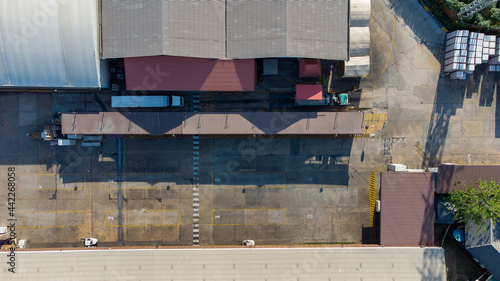 Fotografiet Factory roof from aerial bird eyes view