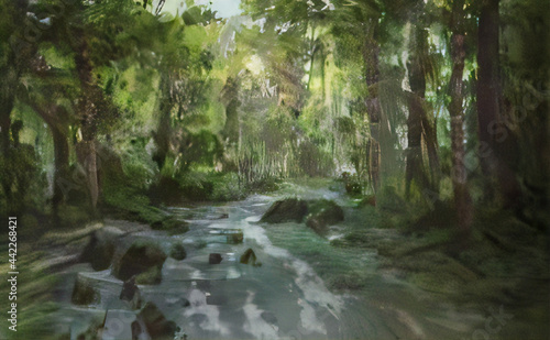 Foto water flowing into the forest