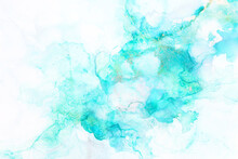 Art Photography Of Abstract Fluid Painting With Alcohol Ink, Blue Colors