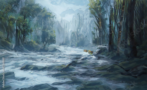 Canvas Print Beautiful waterfall in green forest in jungle