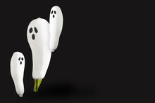 Creative Halloween Composition With Fresh White Pumpkins. Minimal Holiday Concept.