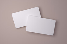 Realistic Rounded Corners Floating Business Branding Cards Mockup With Shadows For Graphic Design Template. Blank Credit Card Mockup Front And Back Over A Neutral Background. 3D Rendering