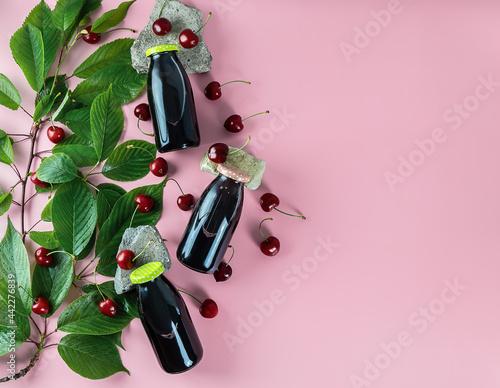 Murais de parede Homemade kompot or compot from sour cherries, non-alcoholic cold beverage