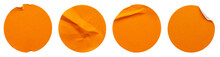 Blank Orange Round Adhesive Paper Sticker Label Set Collection Isolated On White Background