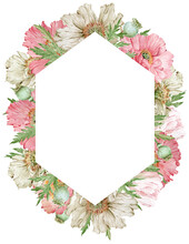 Watercolor Beautiful Pink And Beige Flowers Frame. Poppies Vertical Template. Hand-drawn Illustration.