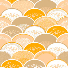 Ornament With Autumn Umbrella Plant On Abstract Background. Semicircles Superimposed On Each Other Like Scales.  Seamless Pattern In Asian Style.