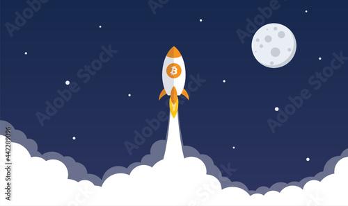 Fotografiet Bitcoin rocket flies to the moon