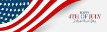 4th Of July Independence Day Celebration Banner Or Header. USA National Holiday Design Concept With A Flag. Vector Illustration.
