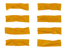 Yellow Wrinkled Adhesive Tape Isolated On White Background. Yellow Sticky Scotch Tape Of Different Sizes.