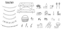 Hand-drawn Stylized Vector Illustration Of Picnic Party Elements - Basket, Picnic Table, Snacks, Wine, Lemonade, Fruits, Cheese, Pie, And Party Garlands. Cartoon Abstract Doodle Isolated On White