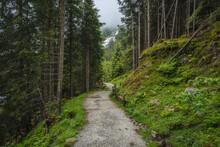 Alpine Mountain Hiking Trail Near Grawa Waterfall. Sulzenau Alm, Stubai Alps, Austria