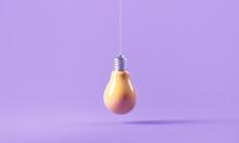 Yellow Light Bulb On Purple Background In Pastel Colors. Minimalist Concept, Bright Idea Concept, 3d Render Illustration.