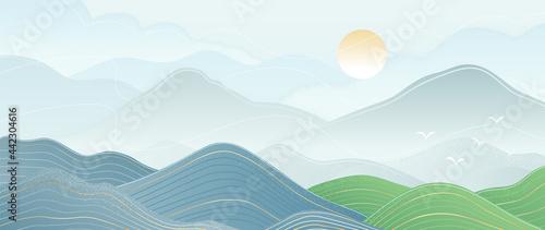 Valokuva Mountain and sun golden line arts background vector