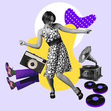 Modern Design, Contemporary Art Collage. Inspiration, Idea, Trendy Urban Magazine Style. Woman Dancing Among Vintage Music Objects On Multicolored Background
