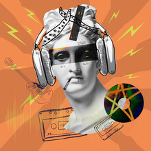 Contemporary Art Collage With Antique Statue Head In A Surreal Style. Music, Party Concept. Drawings