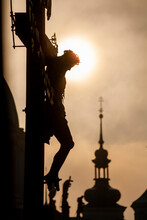 Prague - The Cross On The Charles Bridge By Sunrise - Silhouette