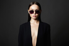 Fashion Portrait Of Beautiful Sexy Woman In Sunglasses