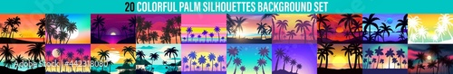 Fotografie, Obraz Cartoon flat panoramic landscape, sunset with the palms on colorful background
