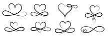 Infinity Love Symbol, Hand Drawn Valentine Heart Infinity Sign. Wedding Design Vector Elements.