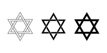 Seal Of Solomon And Star Of David. The Seal Is The Signet Ring Attributed To King Solomon, A Hexagram With Two Interwoven Triangles And The Predecessor Of Star Of David With Two Overlapping Triangles.