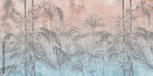 Tapety Loftowe  graficzne-kwiaty-tropikalne-namalowane-na-scianie-kolorowe-grunge-tle-kwiatow-projekt-fototapety-karty-pocztowki-tapety-fototapety