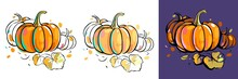Set Of Colorful Pumpkins With Autumn Leaves. Black Outline And Colored Spots. Sketch Style. Image Isolated On White And Purple Background.
