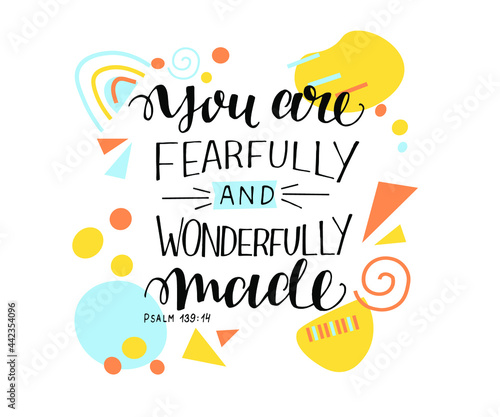 Leinwand Poster Hand lettering You are fearfully and wonderfully made