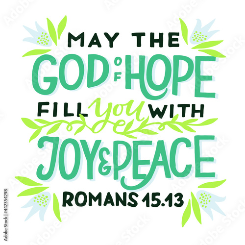 Foto Hand lettering wth Bible verse May the God off hope fill you with joy nd peace