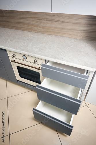 Solution for placing kitchen utensils in modern kitchen Fotobehang