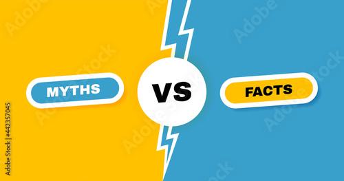 Canvas Print Facts vs myths versus battle background with lightning bolt