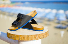 Blue With Black Men's Sandals On A Wooden Log In Summer Time