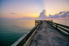 A Beautiful Sunrise At Jetty In Summer .Southern In Thailand