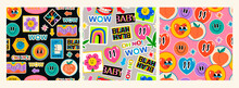 Various Patches, Pins, Stamps, Stickers. Funny Cute Comic Characters. Different Phrases And Words. Hand Drawn Trendy Vector Illustration. Cartoon Style. Set Of Three Abstract Square Seamless Patterns