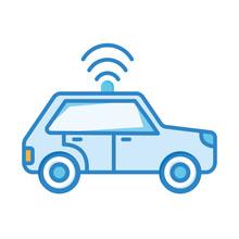 Blue Car With Signal