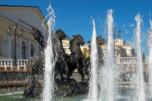 Fountain  Four Seasons,was Established In 1996. Moscow Architecture And Landmark,Moscow Daytime Cityscape. Large Fountain On Manezh Square In The Historical Center Of Moscow