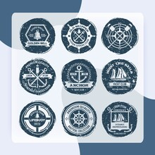 Nautical Sea Sailing Shipbuilders Labels And Stamps Set Isolated Vector Illustration