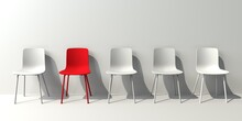 One Out Unique Red Chair Concept With White Chairs