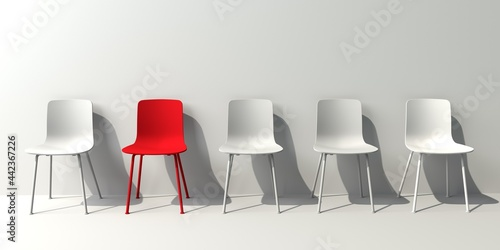 Canvas One out unique red chair concept with white chairs