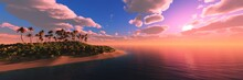 Palm Trees Over The Water, Beach With Palm Trees At Sunset, Sea Sunset With Palm Trees, 3D Rendering