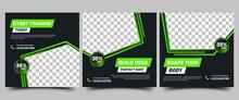 Gym, Fitness, Workout Social Media Post Templates Design Collection. Modern Square Banner With Abstract Green Shape And Place For The Photo. Usable For Social Media, Banners, And Websites.