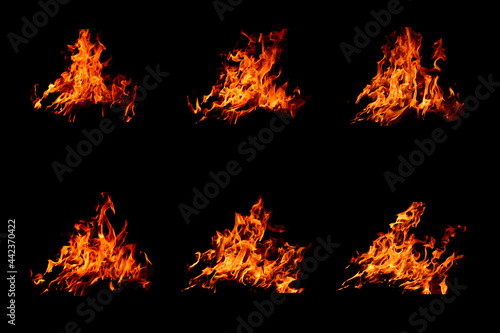 Fototapeta The set of 6 thermal energy flames image set on a black background