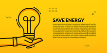 Hand Hold Light Bulb Plant On Yellow Background, Eco Energy Saving Social Media Cover Banner Template